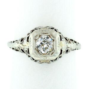 Antique Art Deco Petite 18k Gold European Diamond Filigree Floral Promise Ring