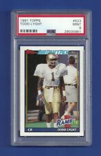 1991 TOPPS #523 TODD LIGHT ROOKIE RC PSA 9 MINT POP 1 LOS ANGELES RAMS