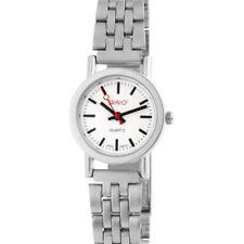 Bahnhof Damenuhr mit Metallarmband Armbanduhr Uhr weiß 100422100136