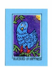BLUEBIRD OF HAPPINESS Art in a Magnet / Bird Mixed-Media ACEO Print