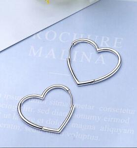 Hinged Hoop Sleeper Circle Heart 925 Sterling Silver Earrings Women Jewellery UK