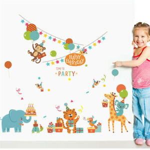 REMOVABLE ANIMALS ZOO PARTY BIRTHDAY LARGE WALL STICKER BABY KIDS ROOM CHILDREN