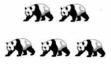 LOT 5 PANDA BEARS NEW SIZE FOR 2015 Temporary Tattoo