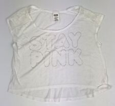 🔥 Victoria's Secret Love Stay Pink White XS Crop Top Shirt Lace Womens