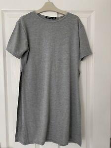 Ladies Grey T-shirt Dress Boohoo Size 14