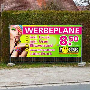 Werbebanner Werbeplane PVC-Plane Banner, versch. Größen, inkl. Druck u. Ösen