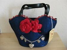 ♥ remanentes! bávara bolsa nuevo Trachten bolsa azul rosas bolso de mano