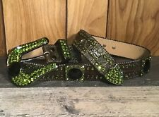 BB SIMON CONFIDENCE GREEN & BLACK SWAROVSKI CRYSTAL GRAY LEATHER BELT XXL $550