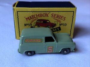 Vintage 50s Moko Lesney Matchbox Ford Thames Singer Van #59 In Orig Box BEAUTY!