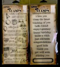 Tim Holtz Happy Birthday Occasions Holiday Talk & Sentiments Clear STAMPS Lot 2p