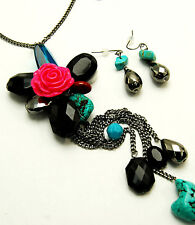 """CHUNKY LONG FLOWER BEADED/TURQ NECKLACE SET 30"""""""