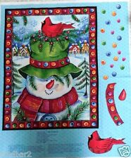 SNOWMAN FABRIC PANEL quick QUILT HAPPY SNOWMAN WALLHANGING door panel NEW