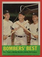 1963 Topps #173 Bomber's Best EX-EX+ Mickey Mantle Tom Tresh New York Yankees