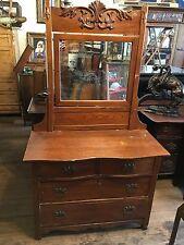 00001 Antique Oak Victorian Dresser With Mirror