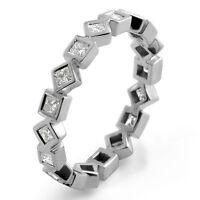 0.75Ct Princess Cut F VS1 Diamond Eternity Wedding Band Bridal Ring PLATINUM 950
