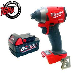 "Milwaukee M18FID2 18V GEN3 1/4"" Fuel Brushless Impact Driver+M18B5 5.0Ah Battery"