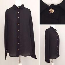 Jovonna London Women Shirt 10 Long Sleeve Black Gold Buttons Semi Sheer Collar