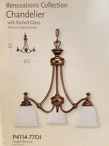 """22"""" Progress P4114-77DI 3 Light Chandelier, Etched Glass, Forged Bronze Finish"""