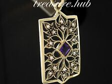 P022 SUPERB Genuine 9K 9ct SOLID Gold NATURAL Amethyst & Pearl Filigree Pendant