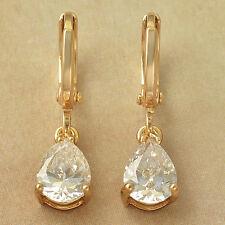fashion Love Tear Drop 9K Solid Gold Filled clear Rhinestone Dangle Earrings