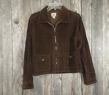 At Last & Co Womens Zip Front Blazer Jacket Brown Corduroy Cropped Size L Large