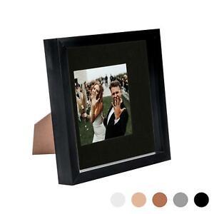 8 x 8 3D Box Frame Photo Picture Deep Display & 4 x 4 Mount Black/Black