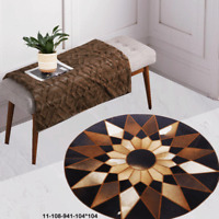 New 100% Cowhide Leather Round Rug Cow Skin Patchwork Area Carpet 11108