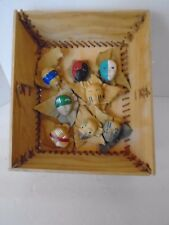 8 HANDMADE MINIATURE PAINTED, LEATHER MASK PINS & 1 HANDMADE BOX TIED IN RAWHIDE