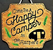 HAPPY CAMPER Personalize SIGN Camp Campsite Camping Wood Name Cabin Tent Plaque