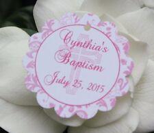 20 Circle Communion Baptism Favor Tags - Pink Floral Design for Girl