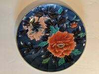 JAPANESE PORCELAIN PLATE BLUE WHITE RUST RED FLORAL GOLD RIM 9 1/2' MARKED