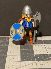 Playmobil VIKING Series 11 Soldier Blue SHIELD Sword AXE Helmet 9146 Yellow Hair