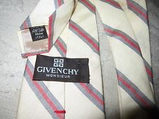 Givenchy Monsieur pale yellow silk diagonal red & green stripe neck tie, Italy
