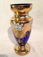Madesk Moser Bohemian Cobalt Blue/Gold Glass Vase 24KT Signed L.K. &  #898/#1000