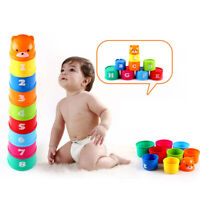 Children Baby 9 Stack Up Cups Toy Set for Gift Bath Toys 6 Months Stacking Toy