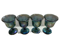 Vintage Indiana Iridescent Carnival Glass BLUE Harvest Grape Water Goblets (4)