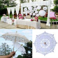 1PC White Lace Parasol Flower Girls Bridal Sun Umbrella Wedding Party Decor