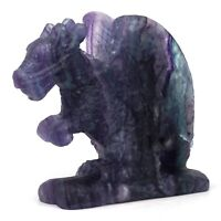 Flying Dragon Figurine Natural Gemstone Fluorite Crystal Healing Reiki Decor