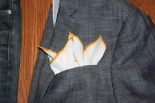 NEW-100% White Linen Pocket Square with Gold Trim