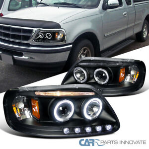 For 97-03 Ford F150 97-02 Expedition Black LED Strip Halo Projector Headlights