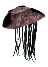 Jack Sparrow Caribbean Pirate Hat with Dreadlocks Beads Fancy Dress Adult [Party