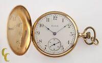 Elgin Antique Full Hunter 14K Yellow Gold Pocket Watch Gr 339 16S 17-Jewel