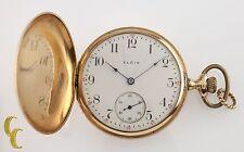14K Yellow Gold Elgin Antique Full Hunter Pocket Watch Gr 339 16S 17-Jewel
