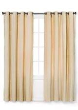 """Threshold TAN Linen Velvet Grommet Curtain Window Panel 84"""" NEW"""