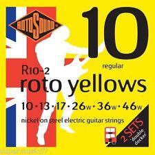 2 Sets Rotosound R10 Roto Yellows Electric Guitar Strings 10-46 Regular