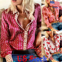 Women's Printed Casual Shirt Ladies Loose V Neck Long Sleeve Blouse Button Tops