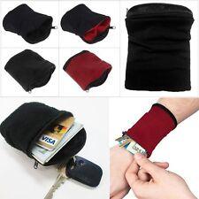 Banjees Wrist Wallet Pouch Band Fleece Zipper Running Case Travel Gym Brown Card