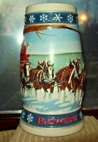"1995 Budweiser "" LIGHTING THE WAY HOME "" Beer Holiday Stein Mug Ceramarte Brazil"