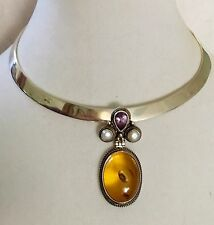 Vintage Sterling Silver Pendant With Amber Amethyst & Pearl Natural Stones