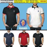 SAAB Polo T Shirt COTTON EMBROIDERED Auto Car Logo Tee Mens Clothing Accessories